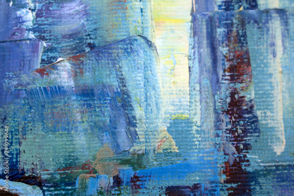 Fototapeta Abstract modern painting. Painting painted with a palette knife on canvas with oil paints in a large stroke.