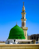 The green dome of prophet muhmamad mosque. masjid un nabawi