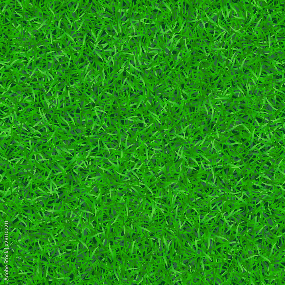 Fototapety, obrazy: Green grass seamless pattern. Background lawn nature. Abstract endless golf field texture. Symbol summer plant, eco natural, growth. Meadow design card, wallpaper wrapping, textile Vector Illustration