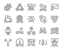 Set Of Teamwork Icons, People, Meeting, Member, Working, Presentation