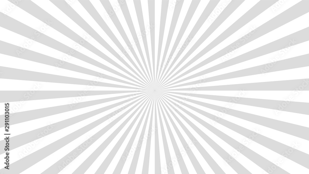 Fototapeta Sun rays background. Gray radiate sun beam, burst effect. Sunbeam light flash boom. Template poster sale. Sunlight star, sunrise glow burst. Solar radiance glare, retro design. Vector illustration