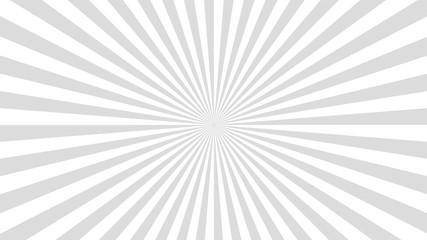 Sun rays background. Gray radiate sun beam, burst effect. Sunbeam light flash boom. Template poster sale. Sunlight star, sunrise glow burst. Solar radiance glare, retro design. Vector illustration