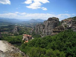Fototapeta na wymiar  meteors, monastery in the mountains, greece