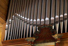 Pipe Organ In A Wooden Church ...