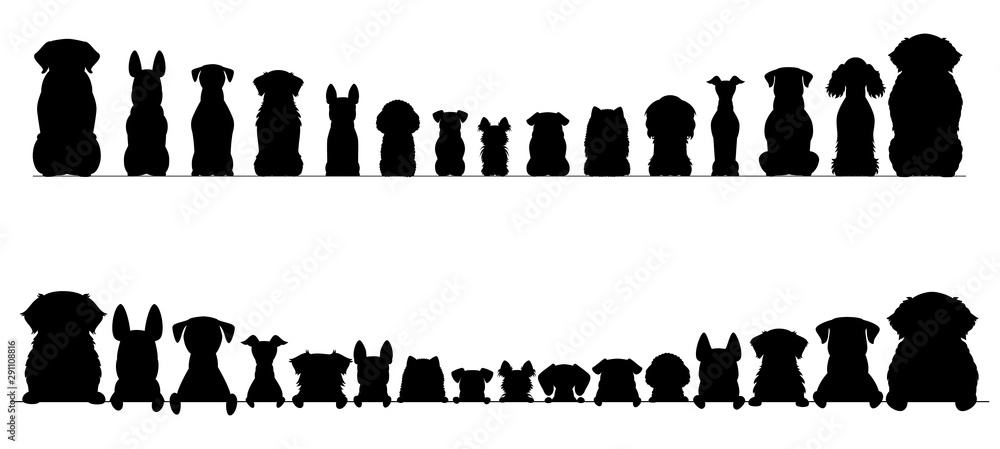 Fototapeta small and large dogs silhouette border set, half and full length