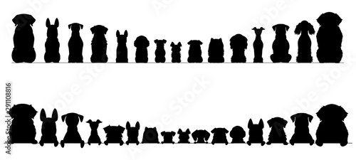 Fototapeta small and large dogs silhouette border set, half and full length  obraz