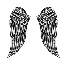 Angel Wing In Vintage Style. T...