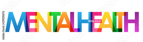 MENTAL HEALTH colorful vector typography banner