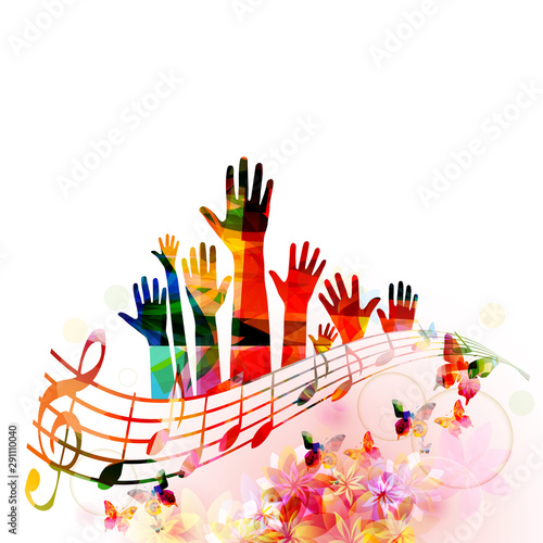 Fototapeta Colorful music background with human hands raised and music notes isolated vector illustration design. Artistic music festival poster, live concert events, party flyer, music notes signs and symbols obraz
