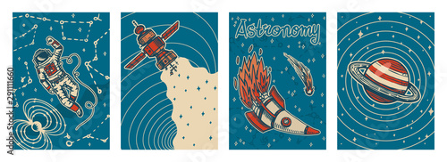 Vászonkép Set of vintage space banners