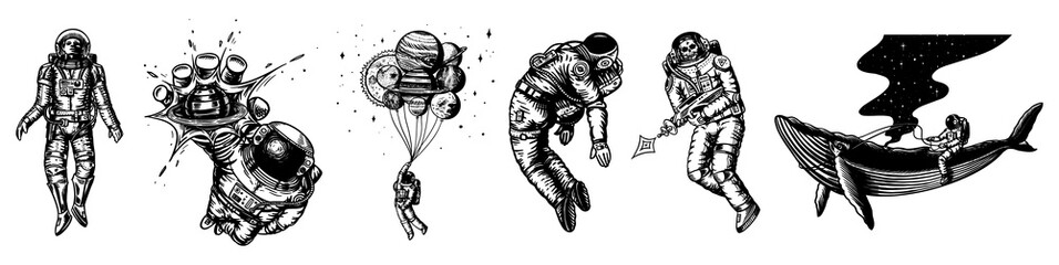 Set of Astronauts in the solar system. Spaceman and whale, taking off cosmonaut, planets in space, balloons and the moon. Engraved hand drawn Old sketch in vintage style.