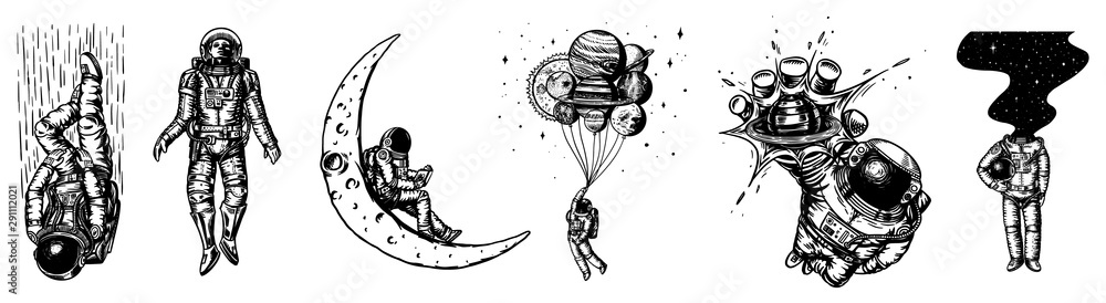 Fototapeta Set of Astronauts in the solar system. Spaceman and whale, taking off cosmonaut, planets in space, balloons and the moon. Engraved hand drawn Old sketch in vintage style.