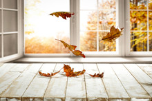 Fall Wooden Window Sill And Fr...