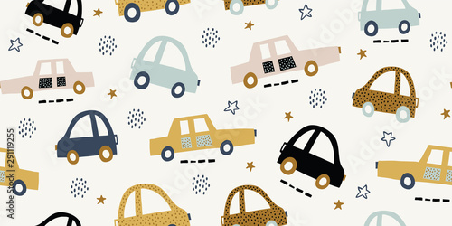 Foto op Aluminium Cartoon cars Kids handdrawn seamless pattern with colorful cars