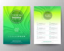 Green Flyer Design Template. Minimal Abstract Curved Wave Shape On Green Gradient Color Background. A4 Size