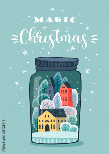 Christmas and Happy New Year illustration. Vector design template. Wall mural