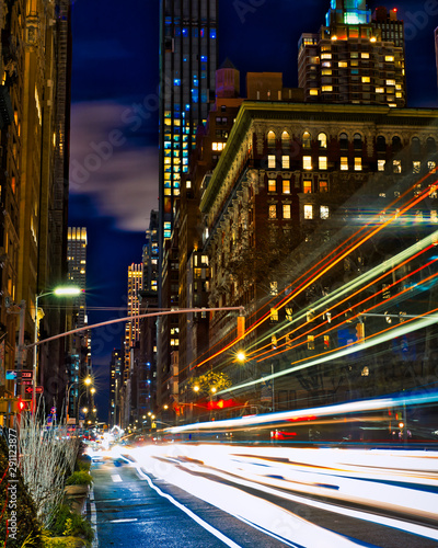 Light trails through the city that never sleeps, New York. Tablou Canvas