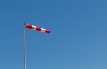 A Red-white Sleeve Indicating The Wind.