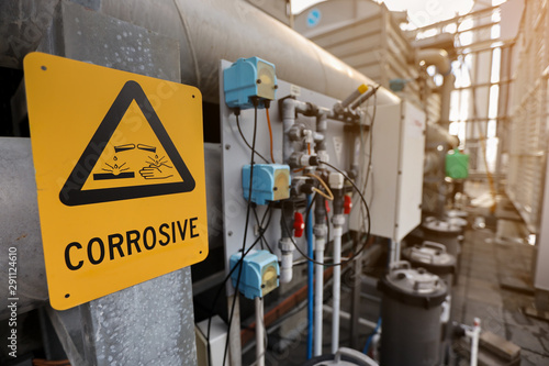 Fotomural  Dangerous corrosive warning signs and symbol applying where chemical substance s