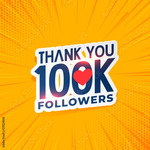 Fototapeta 100k social media network followers yellow background