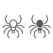 Spider Line And Glyph Icon, Sp...