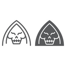 Death Line And Glyph Icon, Halloween And Horror, Reaper Sign, Vector Graphics, A Linear Pattern On A White Background.