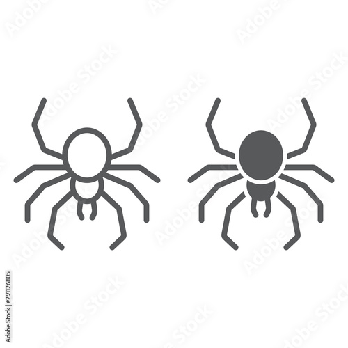 Slika na platnu Spider line and glyph icon, spooky and animal, arachnid sign, vector graphics, a linear pattern on a white background