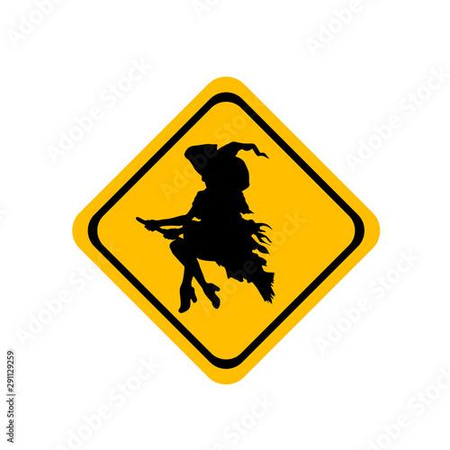 Obraz na plátně  Icono plano bruja volando en señal de trafico color amarillo