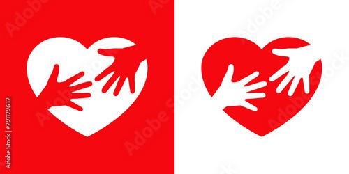Logotipo con corazón con 2 manos iguales en rojo y blanco Wallpaper Mural