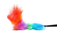 Soft Colorful Duster With Plastic Handle On White Background