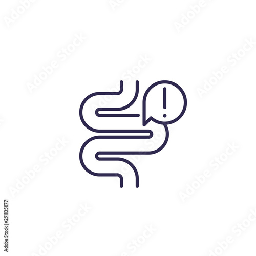Fotografia  constipation icon with bowel, line