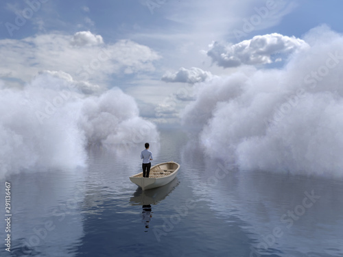 Fotografía  woman is sailing in a boat through the clouds