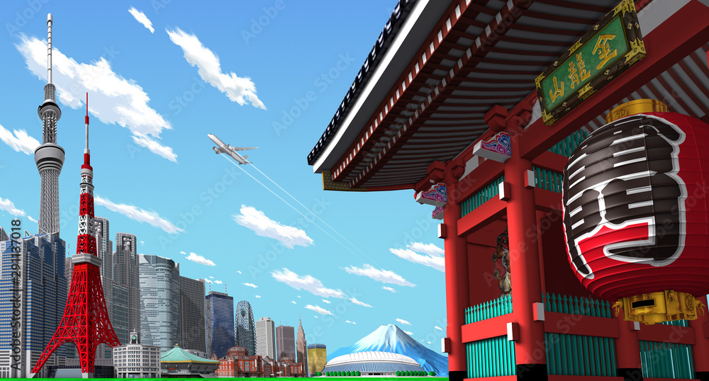 Fototapety, obrazy: Tokyo cityscape and temples in 3d rendering