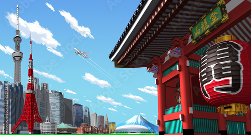 Photo  Tokyo cityscape and temples in 3d rendering