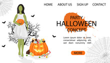 Halloween Party Site Banner With Green Woman Wearing White Dress, Pumpkin Full Of Candy And Spider Web. White Background Vector. Flat Style