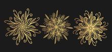 Golden Mandala Set Isolated On Black