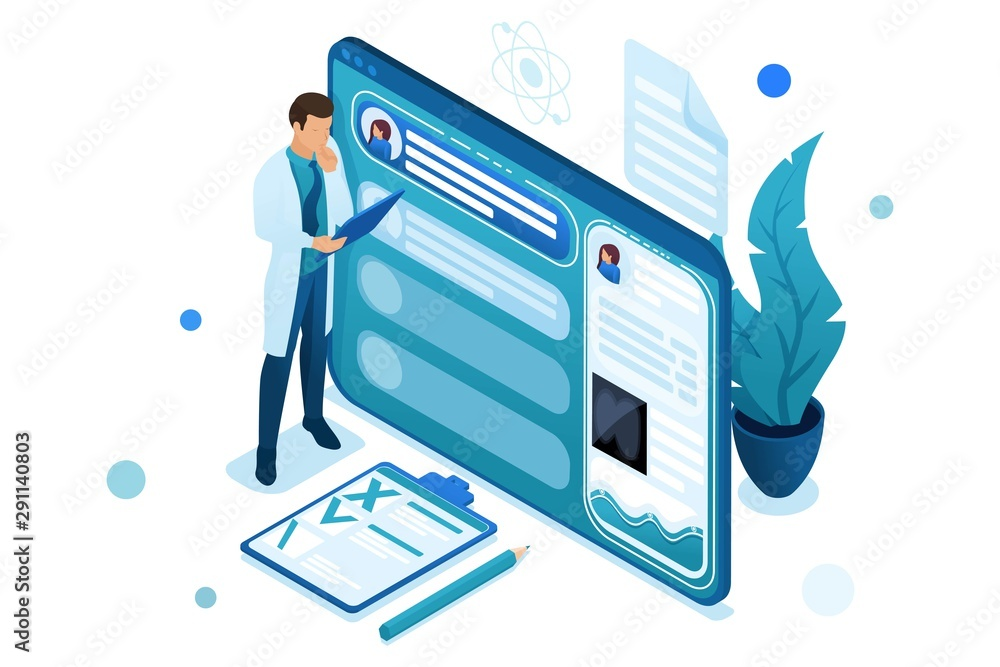 Fototapeta Doctor looks at the patient's electronic chart on the tablet. Health care concept. 3d isometric. Concept for web design-01