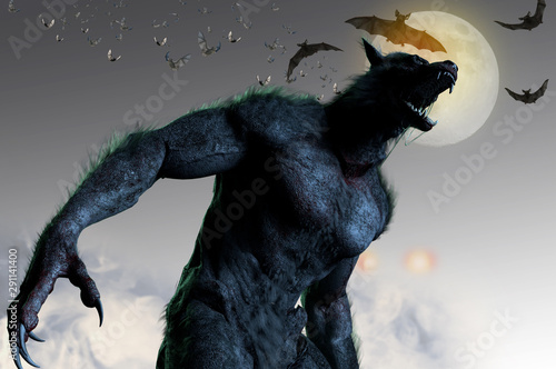 Fotomural  werewolf on Halloween background 3D render