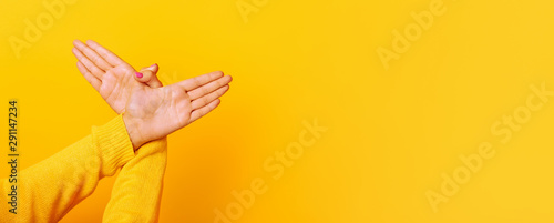 Photographie  Hands gesture bird over yellow background , panoramic mock up image