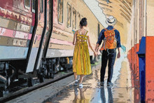 Couple Of Tourists Near The Train. Travelling Together By Train, Digital Art Style, Illustration Painting.