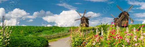 Panoramic view of wooden windmills. Village Vodianiki, Cherkasy region, Ukraine