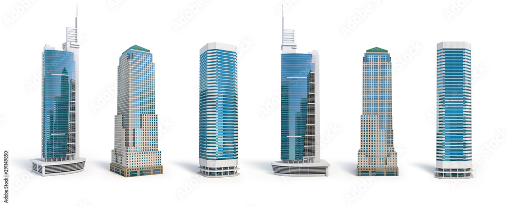 Fototapety, obrazy: Set of different skyscraper buildings isolated on white.