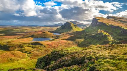 Quiraing Pass Skye Island Scotland landmark autumn colors landscape sunset beautiful scenery view