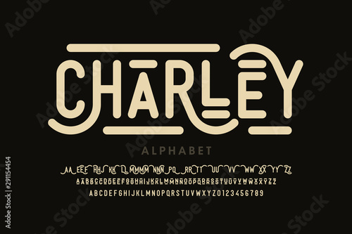 Antique style font, alphabet letters with alternates and numbers Fototapet