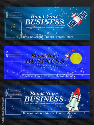 Fotografie, Obraz  Set of Business Social Media timeline cover