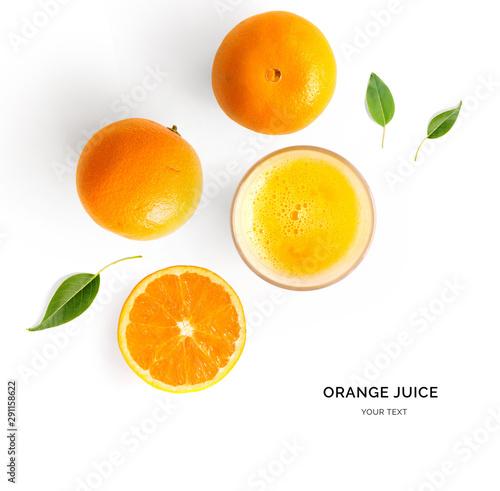 Creative layout made of orange juice. Flat lay. Food concept. Orange on the white background. - 291158622