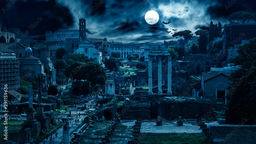 Fototapety, obrazy: Mystery creepy view of Roman Forum at night, Rome, Italy. Scary gloomy panorama of ruins of old houses with bats and zombies. Spooky dark scene in full moon for Halloween. Horror and terror concept.
