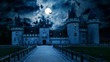 canvas print picture - Haunted Gothic castle at night. Old spooky house in full moon. Creepy view of dark mystery castle with bats. Scary gloomy scene for Halloween theme. Horror and terror concept.