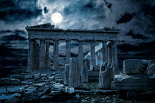 Ancient Greek Ruins In Full Moon, Athens At Night, Greece. Fantasy View Of Old Mystery Parthenon Temple, Top Landmark Of Athens City. Mystic Dark Scene With Haunted Place For Halloween Theme.