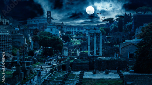 Tuinposter Nachtblauw Mystery creepy view of Roman Forum at night, Rome, Italy. Scary gloomy panorama of ruins of old houses with bats and zombies. Spooky dark scene in full moon for Halloween. Horror and terror concept.